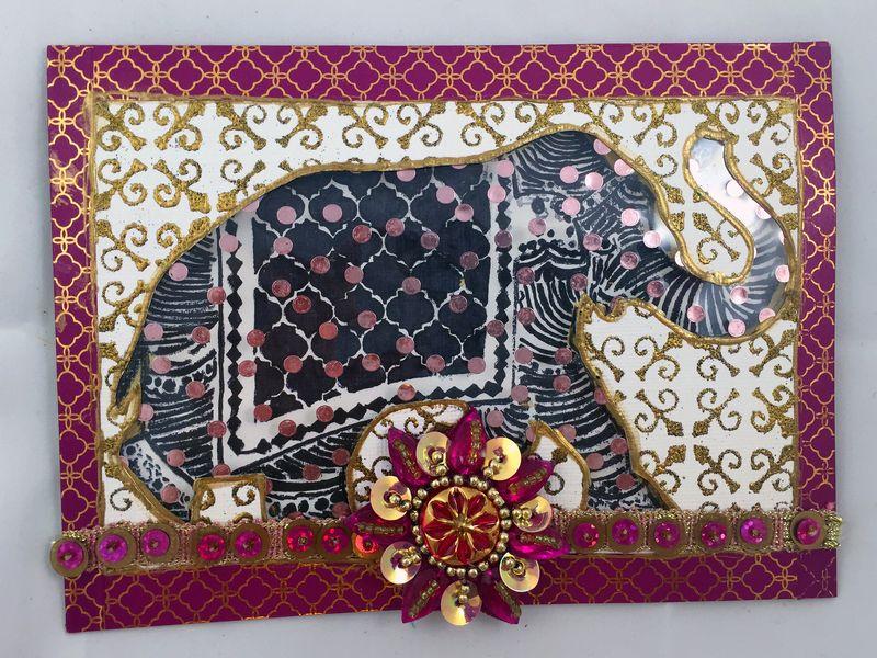 Stamped Elephant Window Card Front - Gwen Lafleur