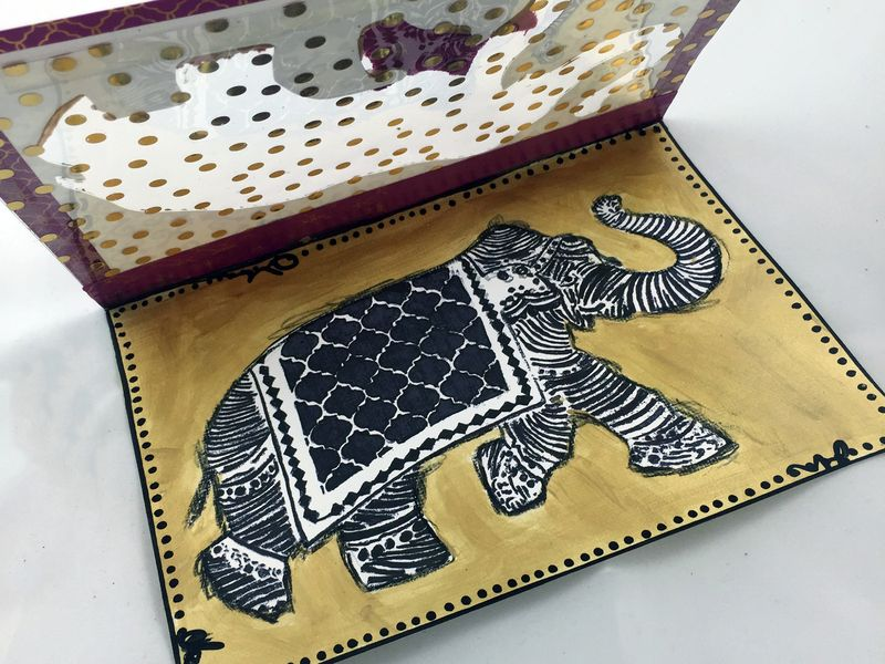 Stamped Elephant Window Card Inside - Gwen Lafleur