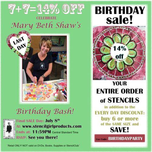 StencilGirl - Mary Beth's Birthday Sale 2016