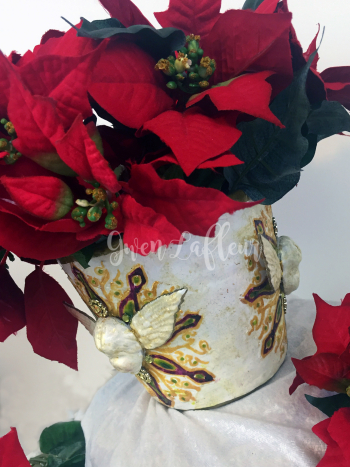 Faux Ceramic Poinsettia Planter with Stencils - Gwen Lafleur