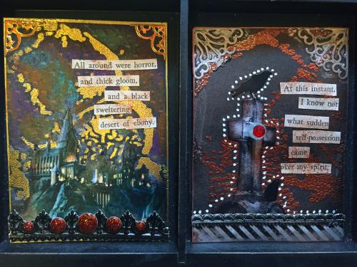 Stenciled Halloween ATCs 1-2 - Gwen Lafleur