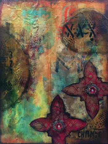 Stenciled Abstract Mixed Media Panel - Gwen Lafleur