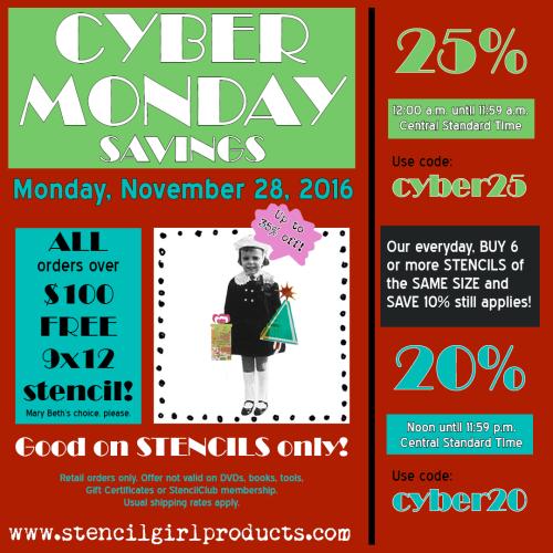 StencilGirl Cyber Monday Artist Promo