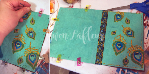 Stenciled Kraft-Tex Notebook Cover Step 4 - Gwen Lafleur