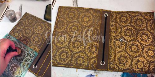 Stenciled Kraft-Tex Notebook Cover Step 6b - Gwen Lafleur