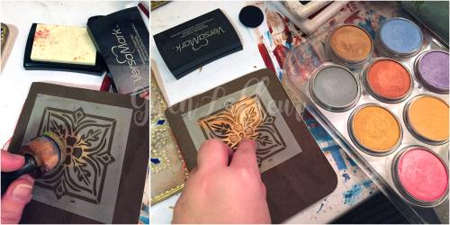 Stenciled Kraft-Tex Notebook Cover Step 9 - Gwen Lafleur