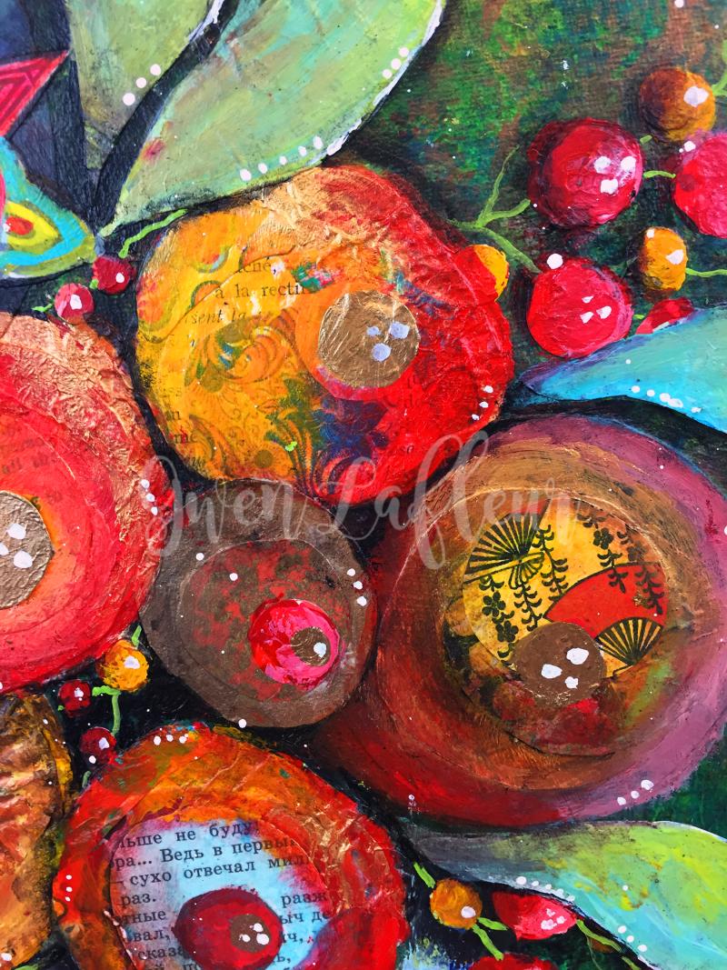 Mixed Media Floral Still-Life - Close-up 3 - Gwen Lafleur