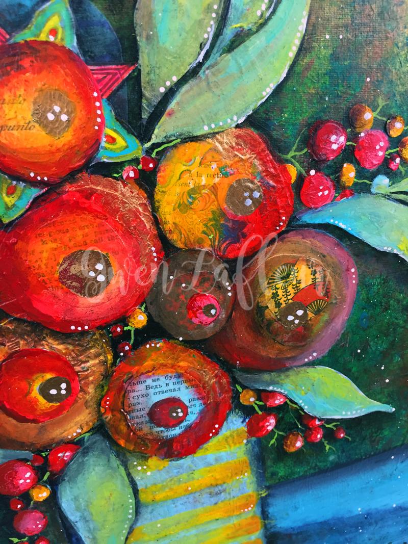 Mixed Media Floral Still-Life - Close-up 5 - Gwen Lafleur