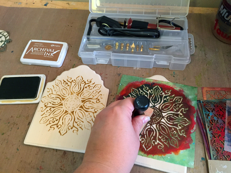 Stenciled - Woodburned Diptych - Step 1 - Gwen Lafleur