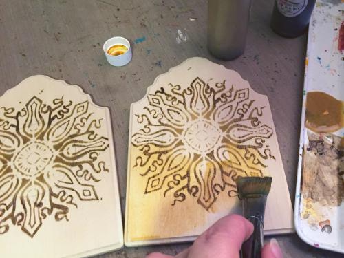 Stenciled - Woodburned Diptych - Step 3 - Gwen Lafleur