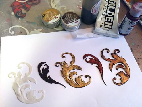 Stenciled - Woodburned Diptych - Step 7 - Gwen Lafleur