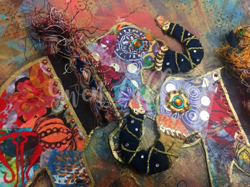 Boho Art Journaling - Elephants Close-up 4 - Gwen Lafleur