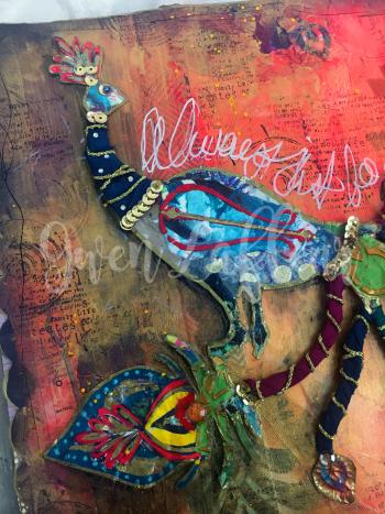 Boho Art Journaling - Peacock Close-up 1 - Gwen Lafleur