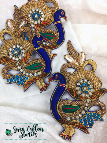 Peacock Sari Patches - Gold Flower Tails - Gwen Lafleur Studios