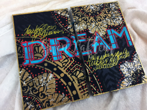 Art Deco Stencils - Dream Art Journal Page Angled - Gwen Lafleur