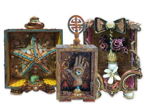 Mixed Media Shadow Boxes - Shrines - Class Samples - Gwen Lafleur