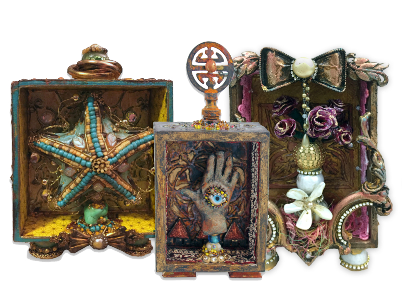Mixed Media Shadow Boxes - Shrines - Class Samples - Gwen Lafleur
