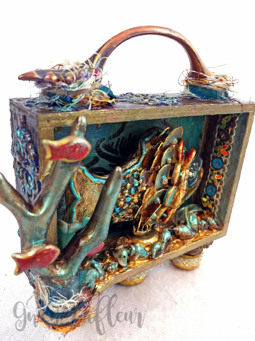 Mixed Media Shadow Box - Ocean Scene Front Angle 2 - Gwen Lafleur