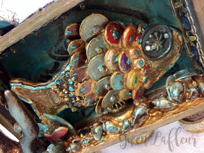 Mixed Media Shadow Box - Ocean Scene Closeup - Gwen Lafleur