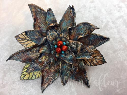 Stenciled Clay Flower - Gwen Lafleur