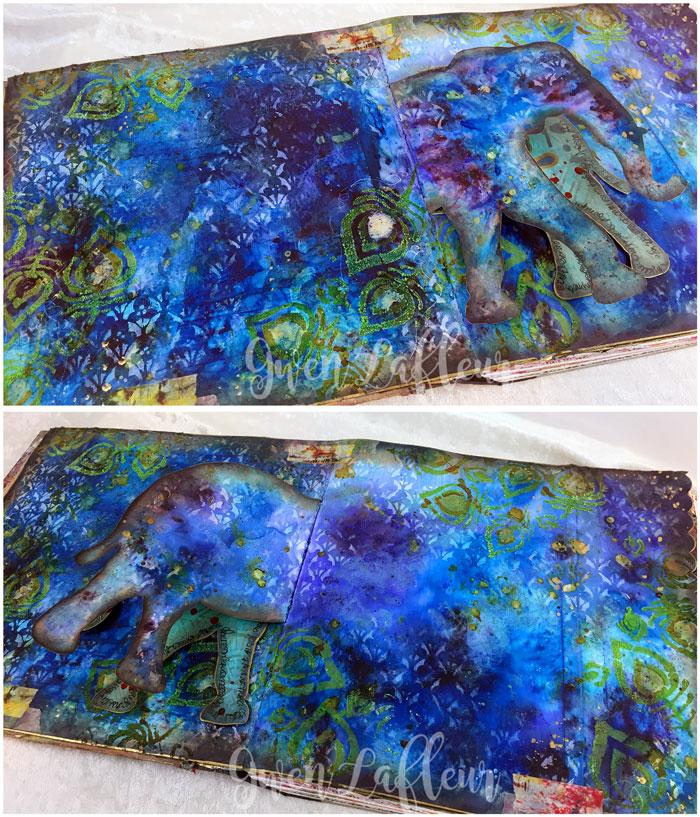 StencilGirl-Brusho-Art-Journal-Page-Elephant-View-2---Gwen-Lafleur