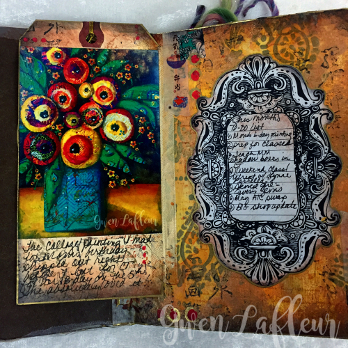 May ARTifacts Art Journal Spread 1a - Gwen Lafleur