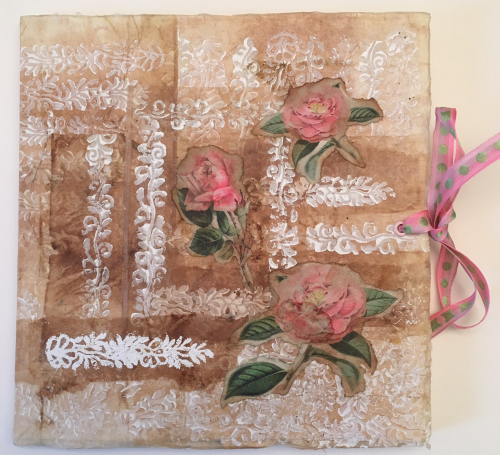 Art Journal Cover - Roses and Tea Stain - Linda Wyatt