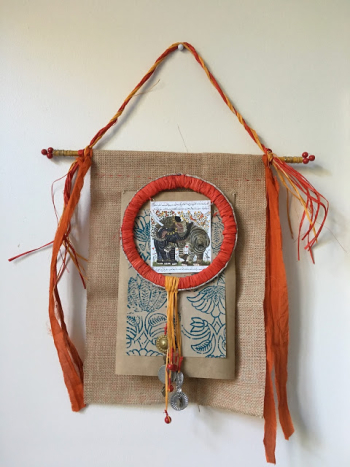 Mixed Media Elephant Banner - Lynda Shoup