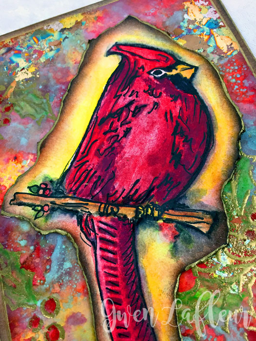 Handmade-Card-with-Cardinal-and-Holly-Stencil-Closeup-1-Gwen-Lafleur