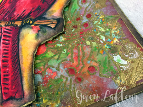Handmade-Card-with-Cardinal-and-Holly-Stencil-Closeup-2-Gwen-Lafleur