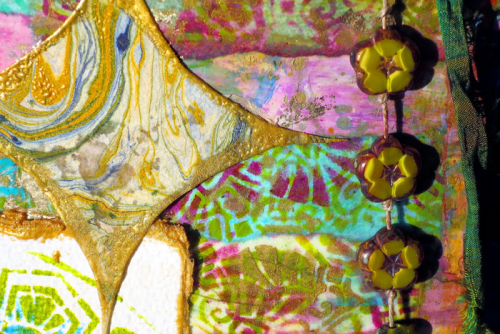 Stenciled-Mixed-Media-Wall-Hanging-Close-up---Jackie-Neal