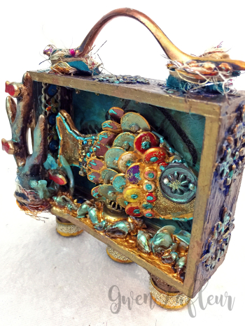 Mixed Media Shadow Box - Ocean Scene Front Angle - Gwen Lafleur