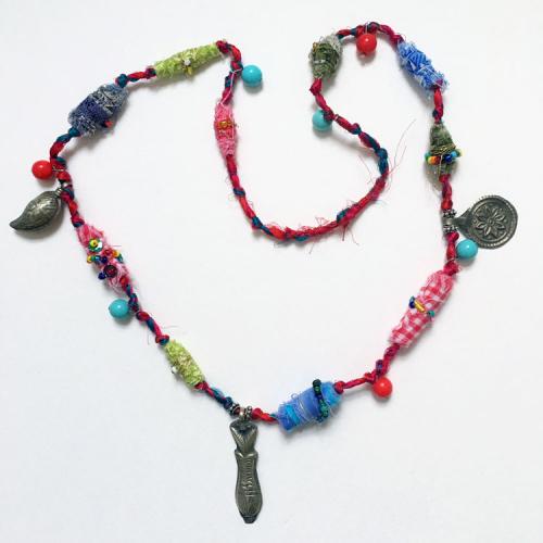 Boho-Necklace-with-Fabric-Beads---Linda-Edkins-Wyatt