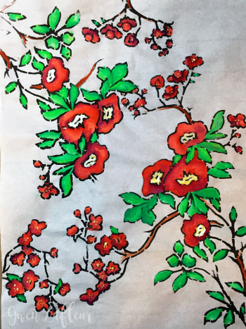 Plum-Blossoms-on-Rice-Paper-with-Gouache---Gwen-Lafleur