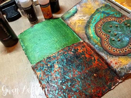 Stenciled-and-Sprayed-Mini-Art-Journal-Inside-Cover---Gwen-Lafleur