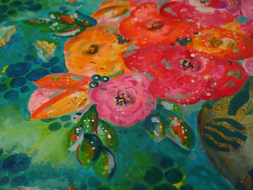 DecoArt Media and StencilGirl Painting Close-up 1 by Gwen Lafleur