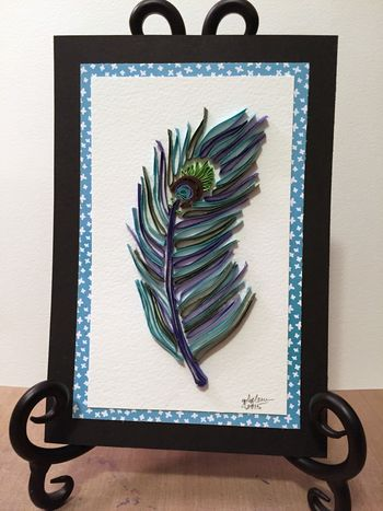 Quilled Peacock Feather Using Stencils 1 - Gwen Lafleur