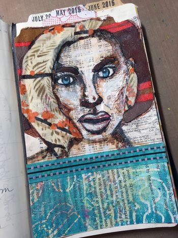 Fabric Stenciled Face Art Journal Page - Gwen Lafleur
