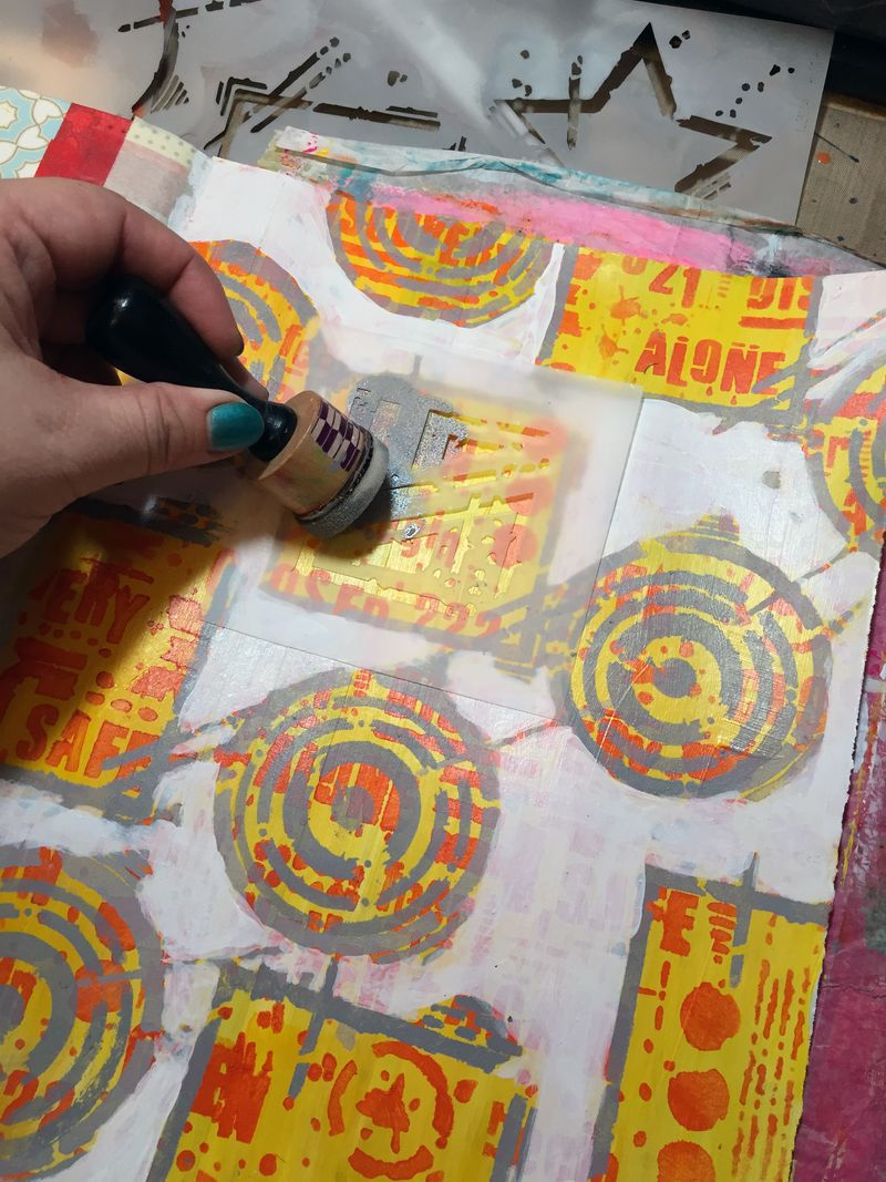 Art Journaling with New Seth Apter Stencils Part 3 - Gwen Lafleur