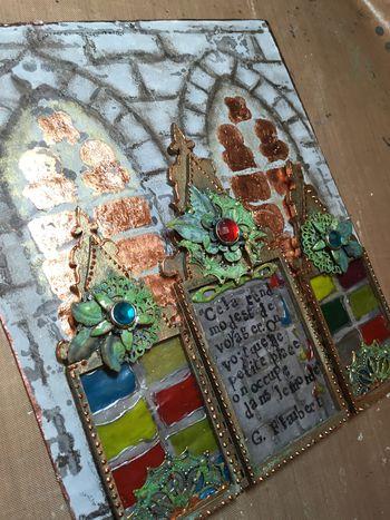Triptych with Stencils and VerDay Paints 9 - Gwen Lafleur