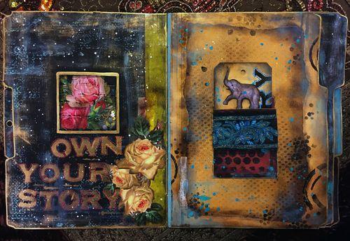 Nov2015 StencilClub - File Folder Art Journal 2 - Gwen Lafleur
