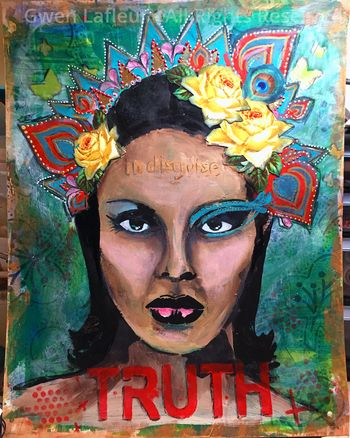Truth Stenciled Mixed-Media Portrait - Gwen Lafleur