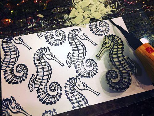 Carve December 2015 - Seahorse Stamp - Gwen Lafleur