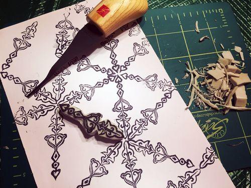 Carve December 2015 - Snowflake Stamp - Gwen Lafleur