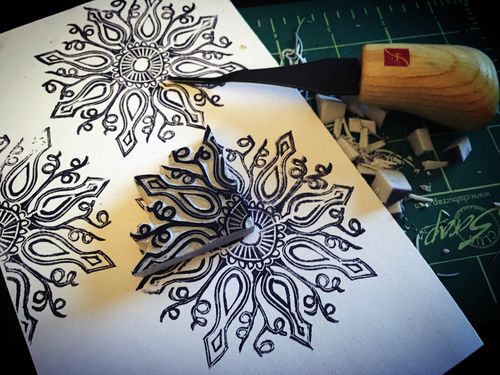 Carve December 2015 - Quarter Repeat Doily Stamp - Gwen Lafleur