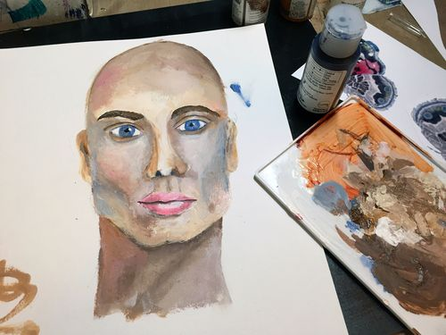 February 2016 StencilClub Mixed Media Painting Step 1 - Gwen Lafleur