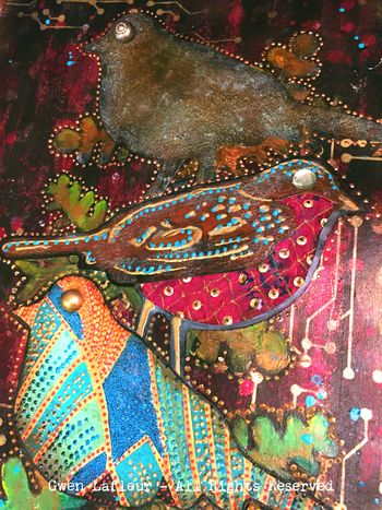 Opposites - Bird Stamp Art Journal Page Teaser - Gwen Lafleur