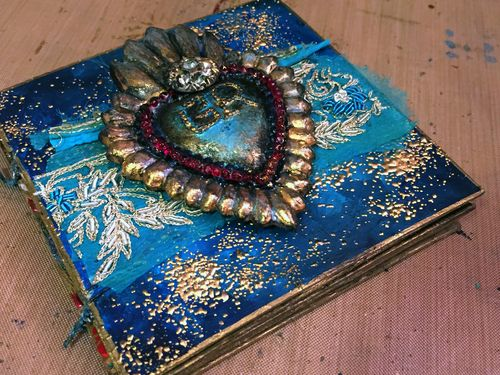 4x4 Mini Art Journal Class Sample - Front Cover - Gwen Lafleur