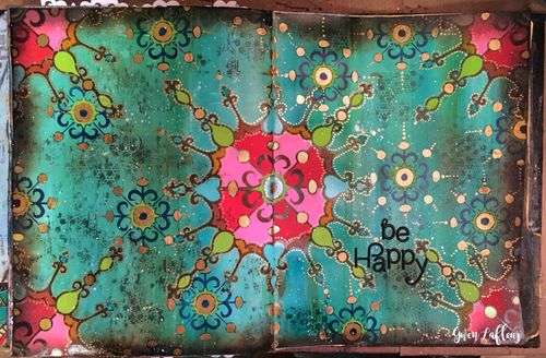 Art Journal Page with New Stencils- Gwen Lafleur