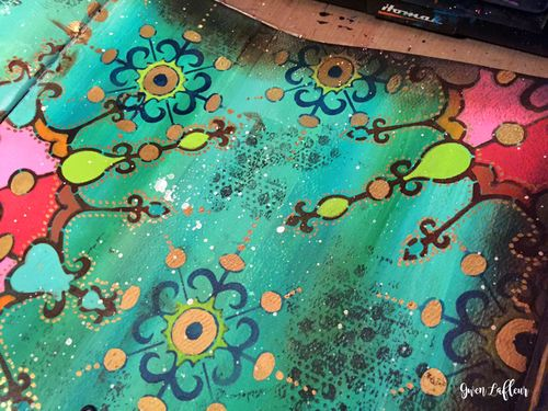 Art Journal Close-up 1 with New Stencils- Gwen Lafleur